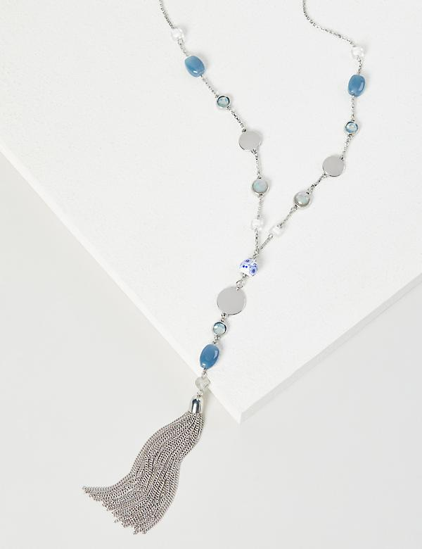 Beaded Y-Necklace - Blue