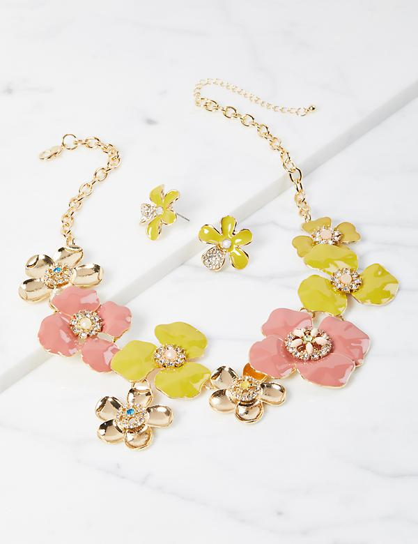 Floral Cluster Necklace & Earrings Set