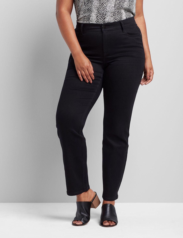 lane bryant women's signature fit straight jean - black 28 black denim