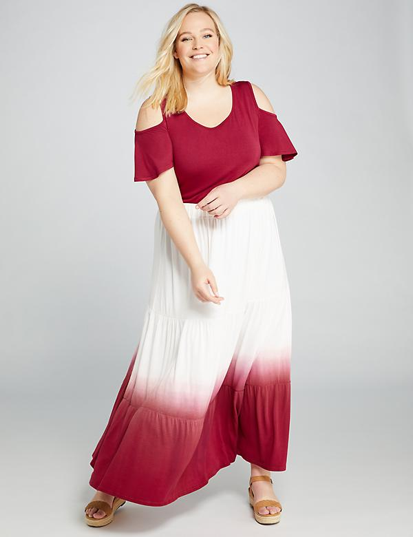 Dip-Dye Seamed Skirt