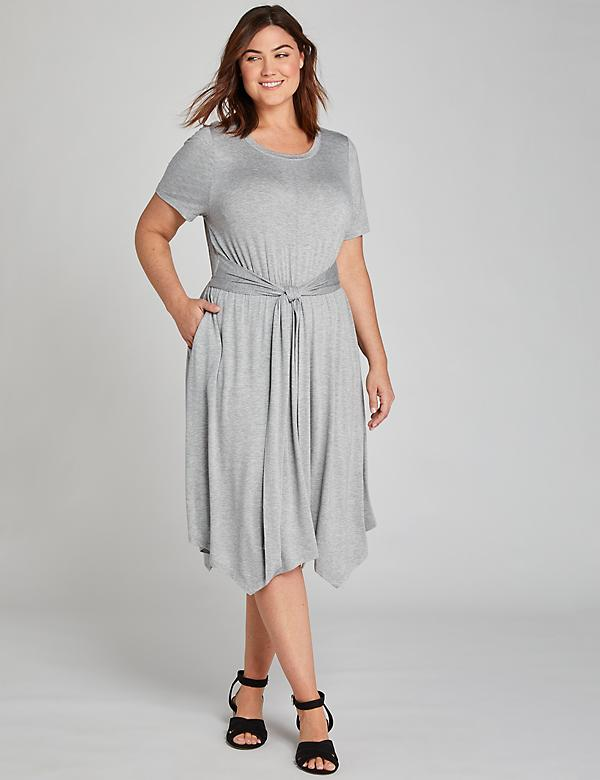 Tie-Front Fit & Flare Dress - Gray