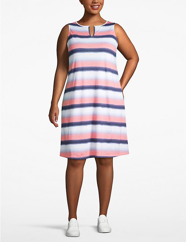 Striped Notch-Neck Swing Dress
