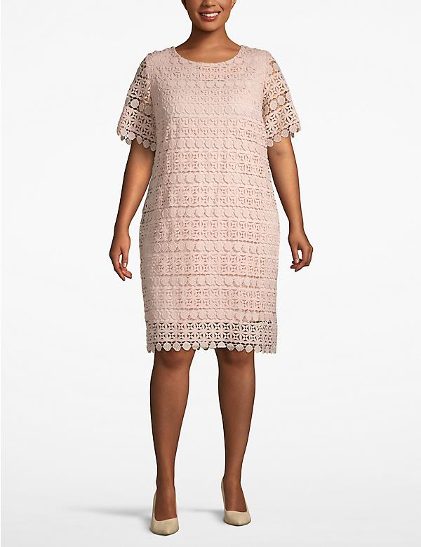 Boat Neck Lace Shift Dress