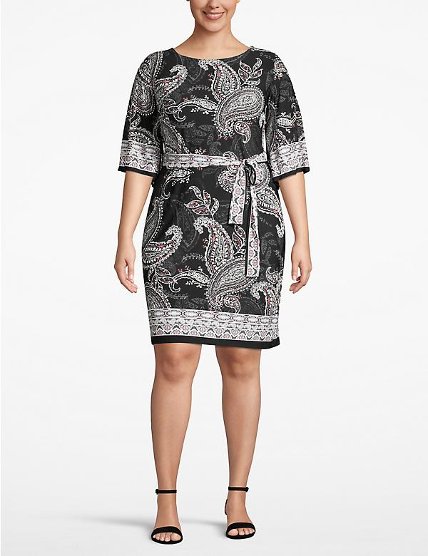 Belted Paisley Shift Dress