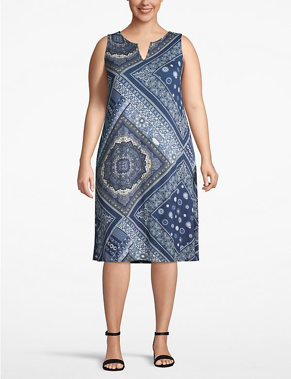 Printed Notch-Neck Swing Dress
