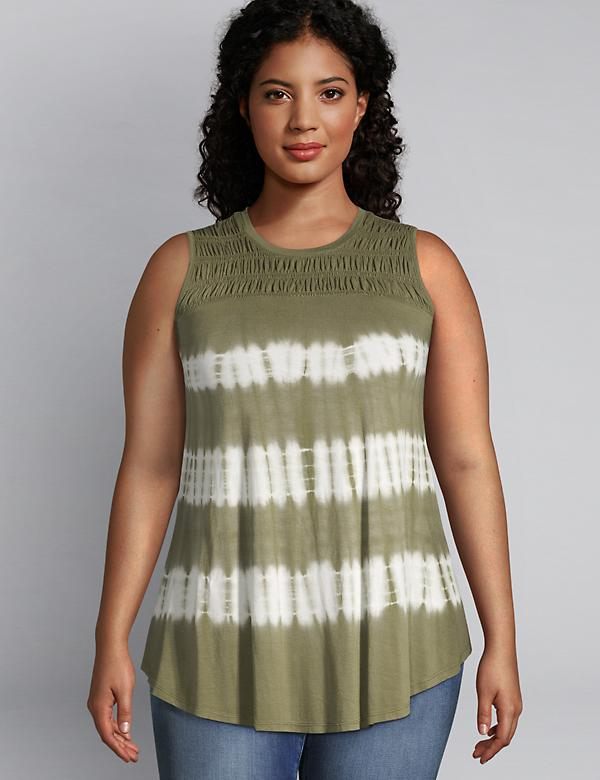 Shirred-Yoke Swing Tunic