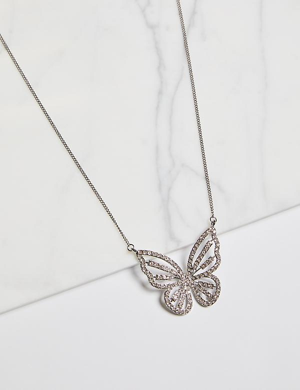 Pave Butterfly Pendant Necklace
