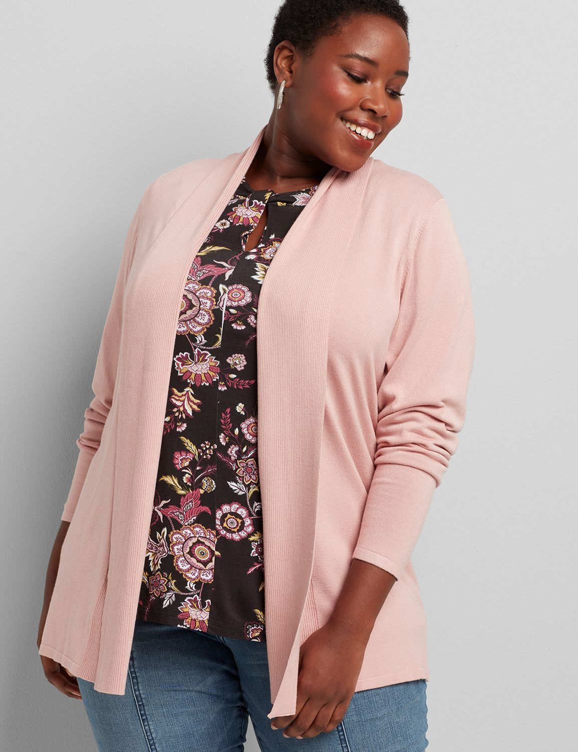 lane bryant women's shawl-collar overpiece with ribbed inset 14/16 pale mauve