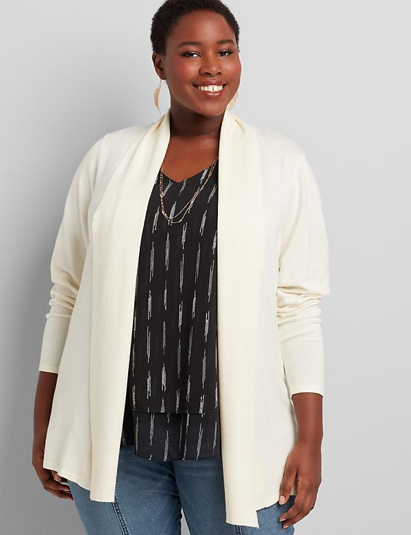 Shawl-Collar Overpiece With Ribbed Inset
