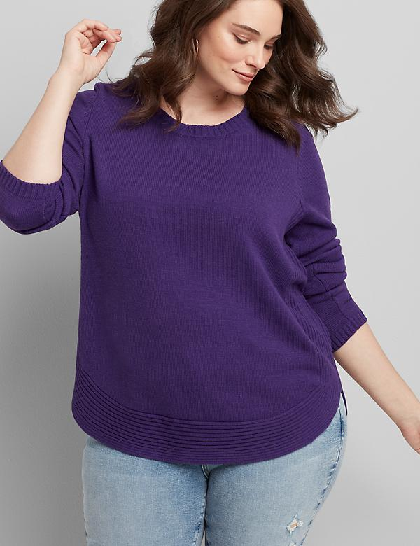 Curved High-Low Pullover Sweater
