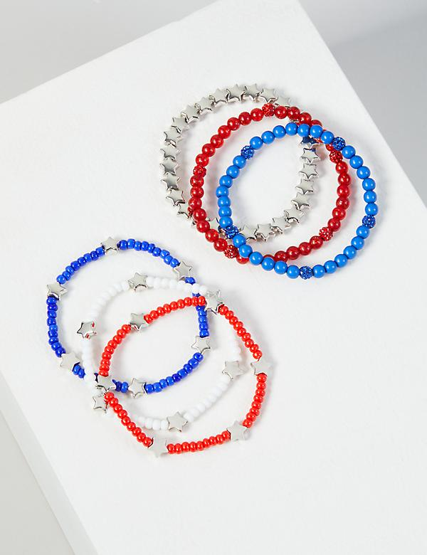6-Row Star Beaded Bracelet Set