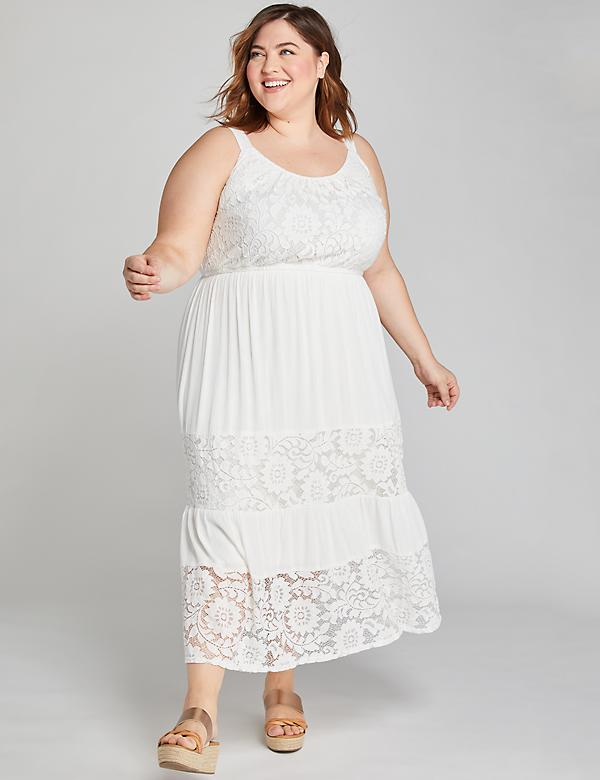 Lace-Inset Midi Dress
