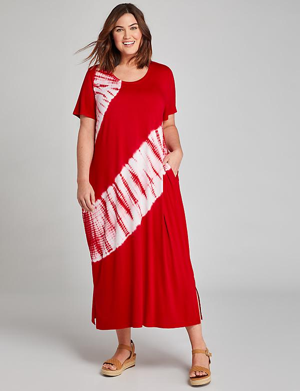 Tie-Dye Tie-Hem Midi Dress