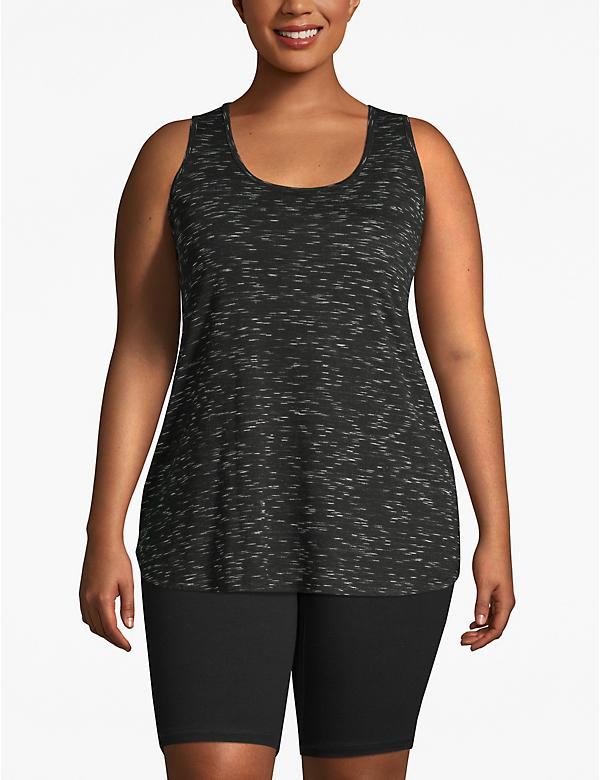 Active Marled Lattice-Back Tunic Tank