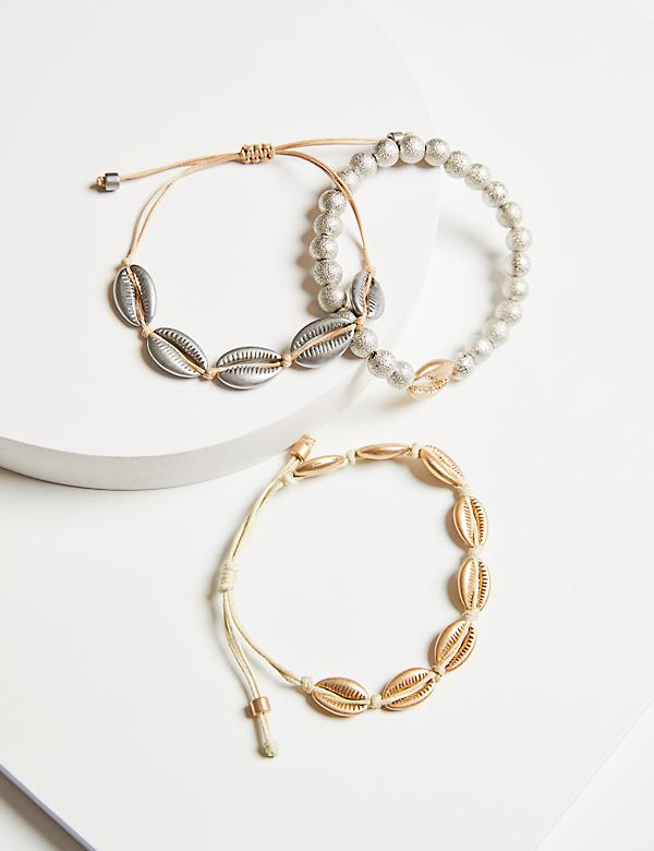 3-Row Seashell Bracelet Set