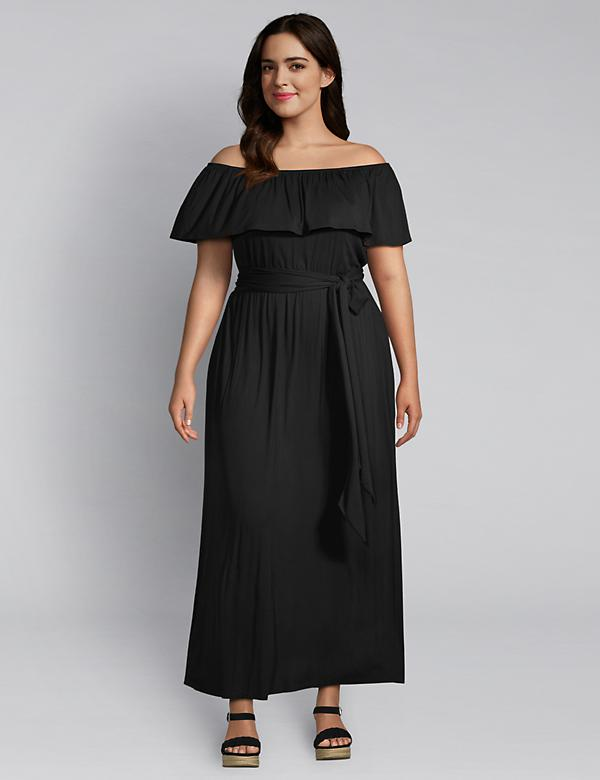 Off-The-Shoulder Belted Maxi Dress