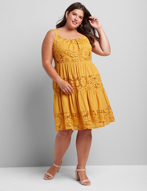Sleeveless Lace-Inset Fit & Flare Dress