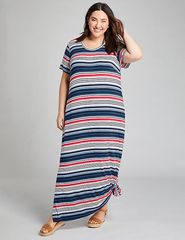 Striped Tie-Hem Midi Dress