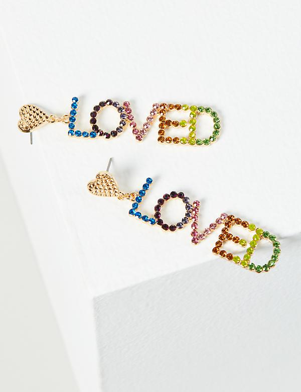 Rainbow Love Drop Earrings