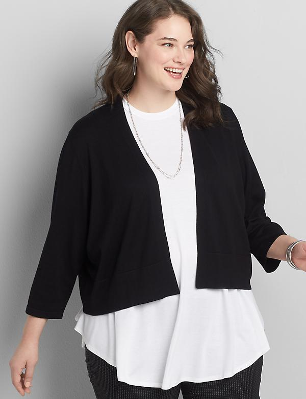 3/4-Sleeve Cropped Cardigan
