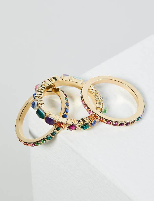 Rainbow Faceted Stone Rings 3-Pack
