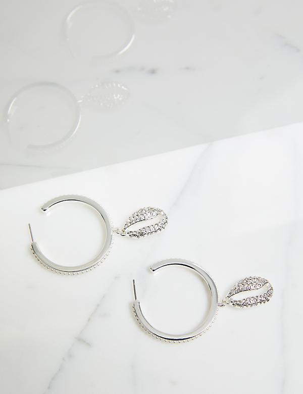 Pave Embellished Hoop Earrings