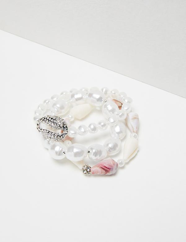 3-Row Pearlescent & Pave Shell Stretch Bracelet Set
