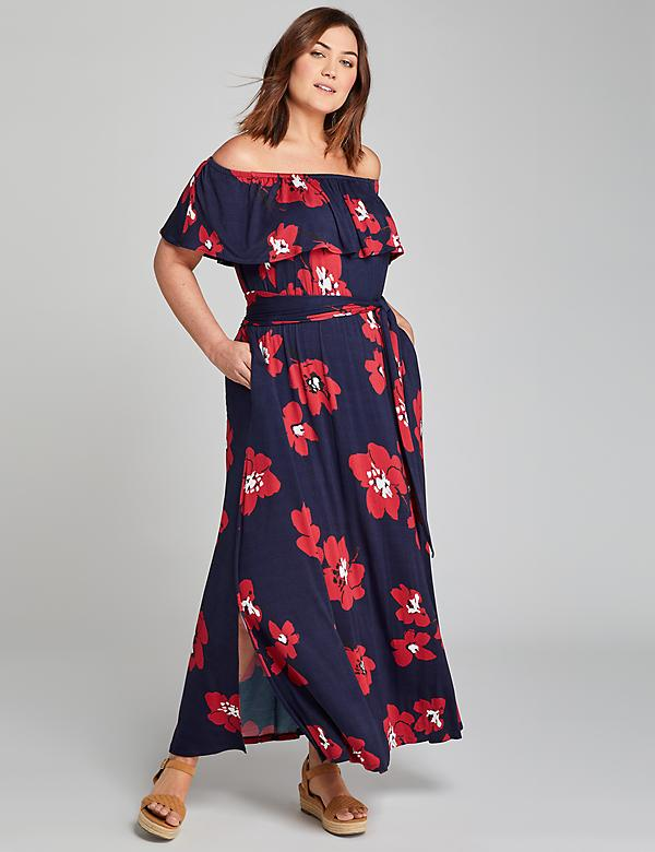 Convertible Off-The-Shoulder Maxi Dress - Printed