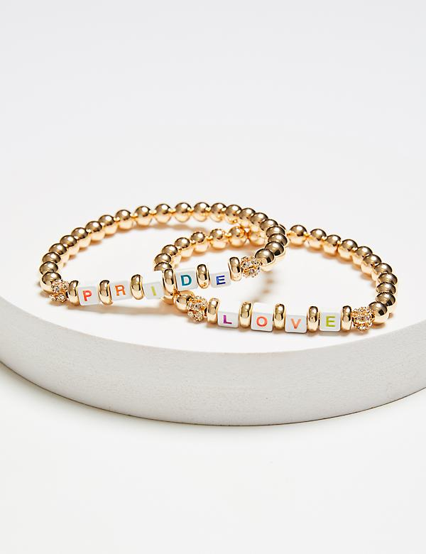 2-Row Beaded Pride & Love Stretch Bracelet Set