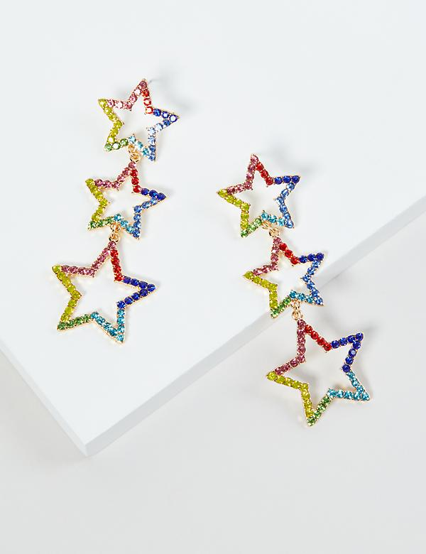 Triple-Star Rainbow Drop Earrings