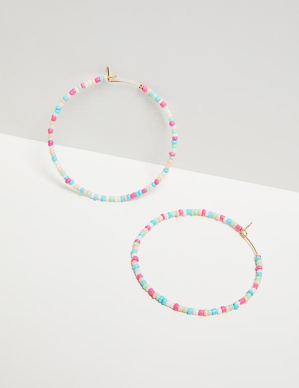 Pastel Beaded Hoop Earrings