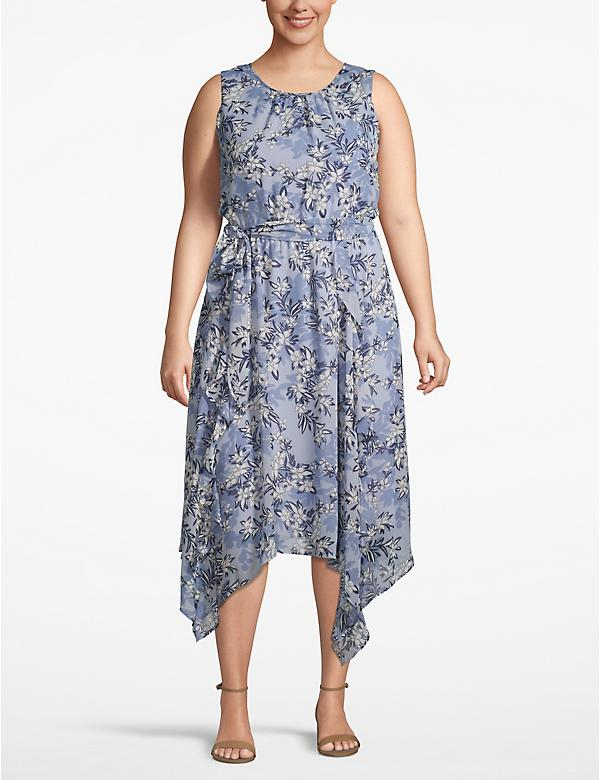 Floral Handkerchief-Hem A-Line Dress
