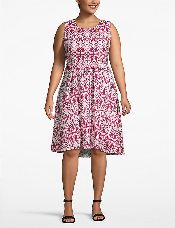 Printed Fit & Flare Belted Dress