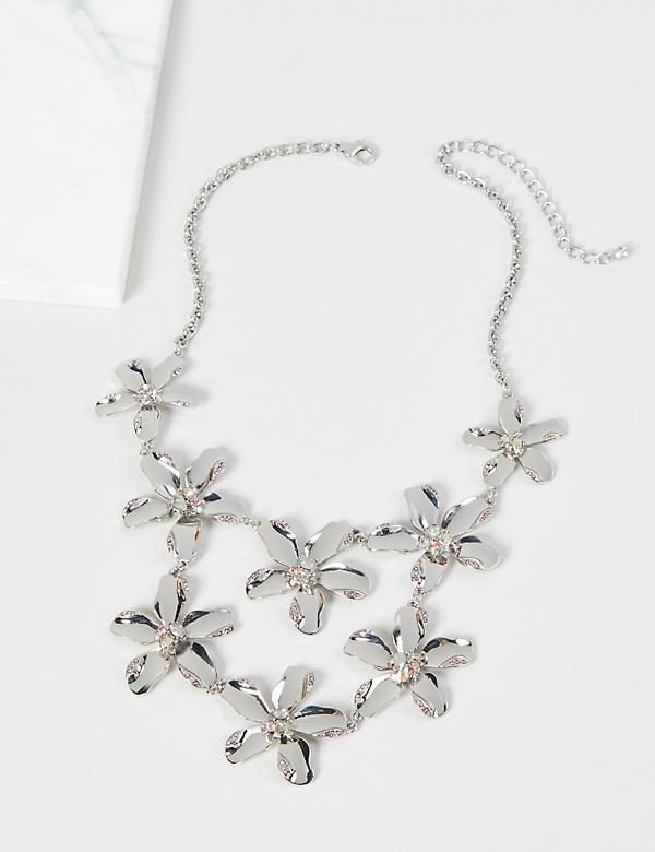 Pave & Faceted Stone Floral Necklace