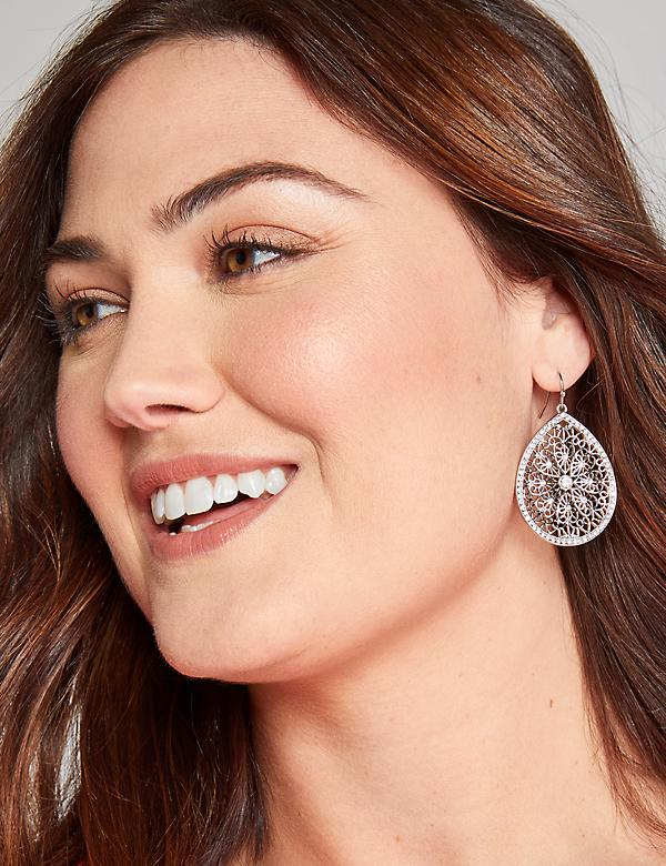 Pave Filigree Teardrop Earrings