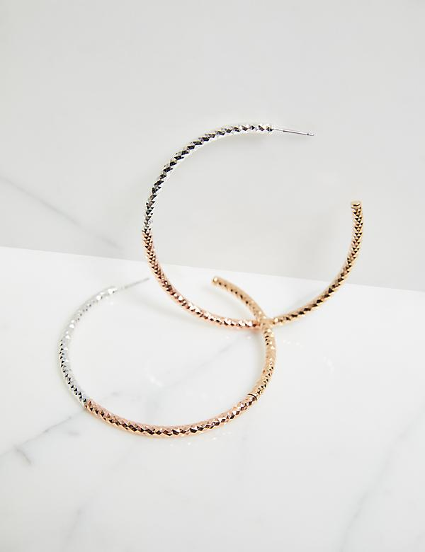 Textured Mixed-Metal Hoop Earrings