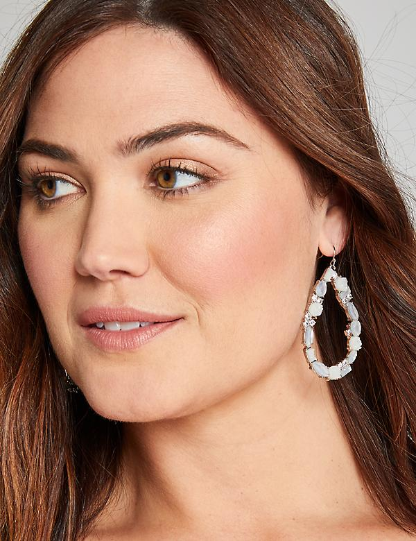 Resin & Faux-Druzy Teardrop Earrings