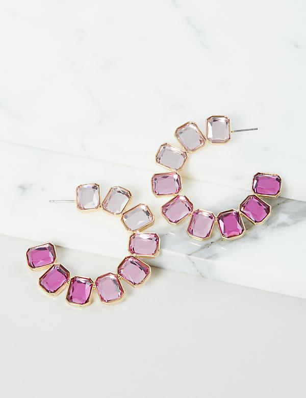 Ombre Faceted Stone Hoop Earrings - Purple