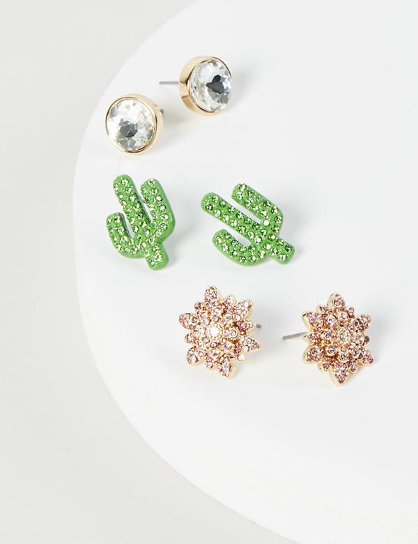Stud Earrings 3-Pack - Cactus & Floral