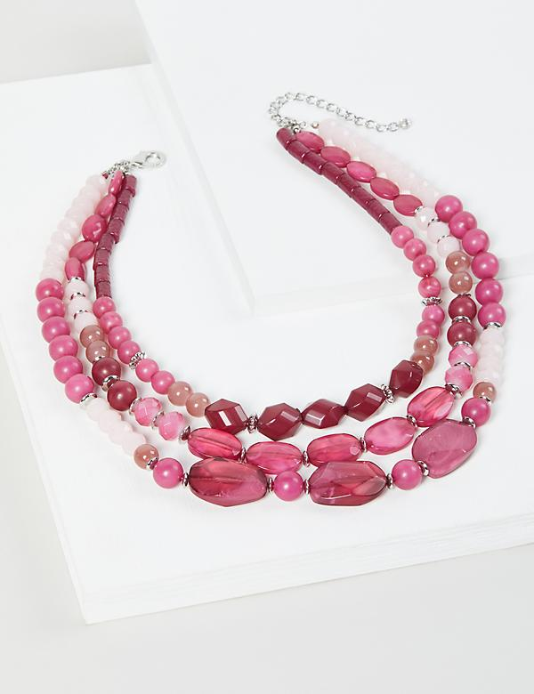 Multi-Layer Beaded Necklace - Pink