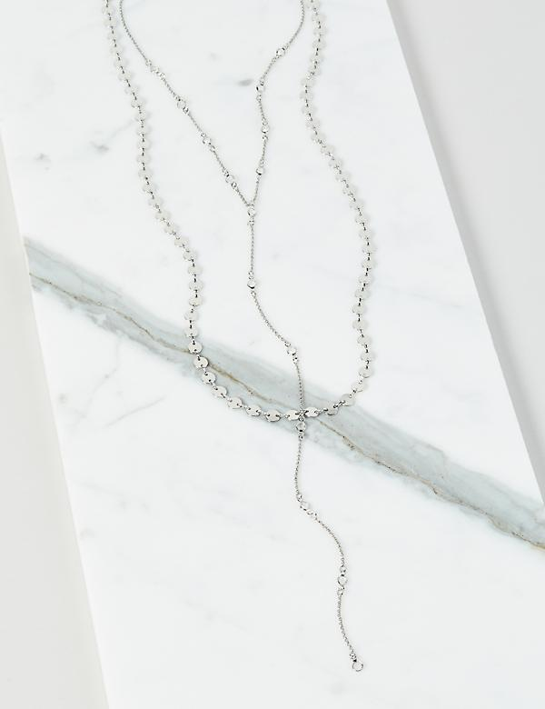 Layered Disc & Faceted Stone Y-Necklace
