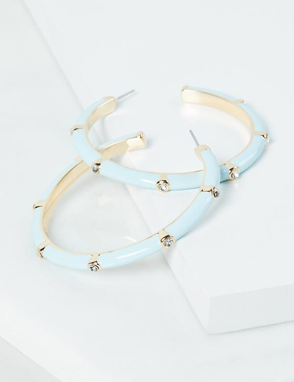Embellished Enamel Hoop Earrings