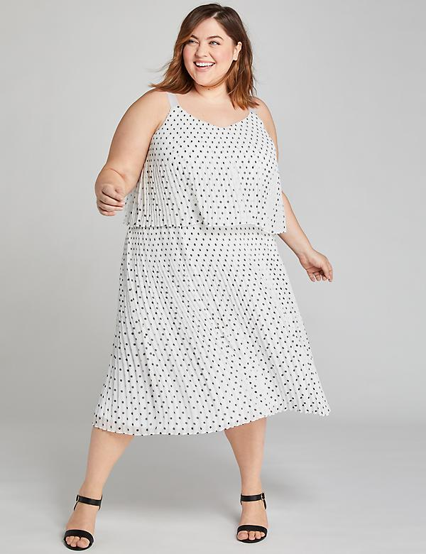 Polka Dot Pleated Midi Dress