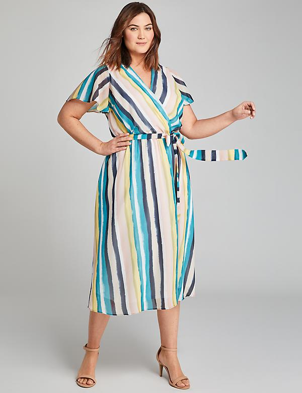 Striped Crossover Midi Dress