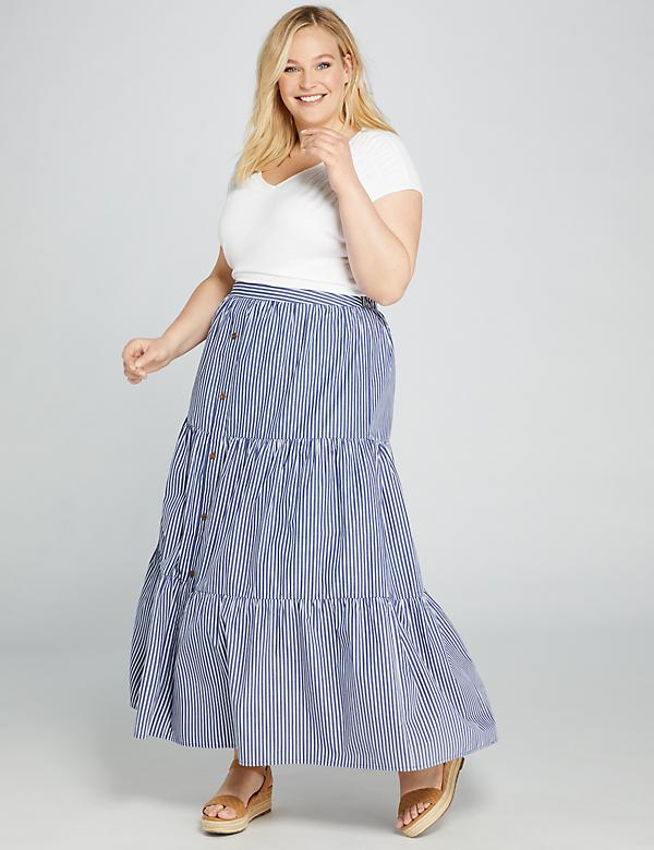Striped Button-Front Maxi Skirt