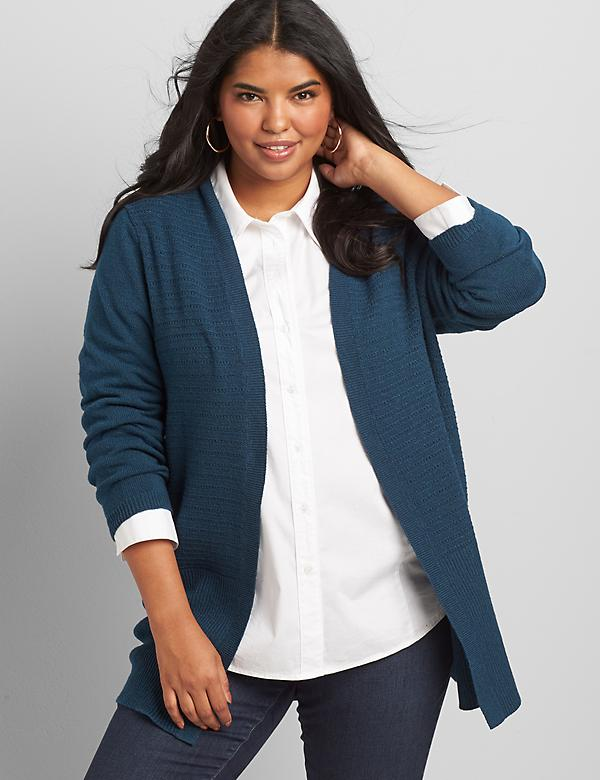 Open-Front Pointelle-Stitch Cardigan
