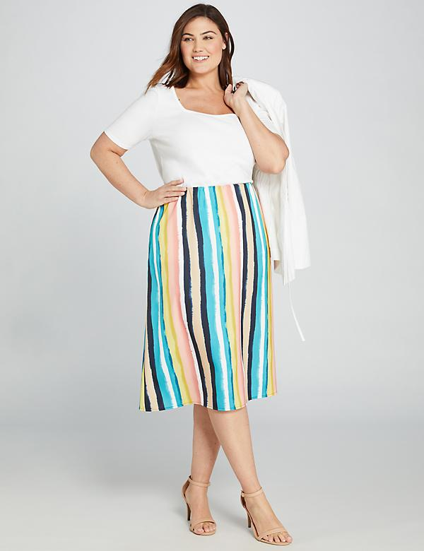Striped Satin Midi Skirt