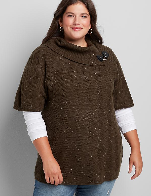 Toggle Cowl-Neck Tunic Sweater