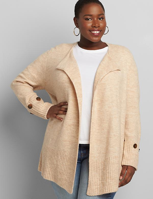 Lane Essentials Open-Front Long-Sleeve Duster Cardigan