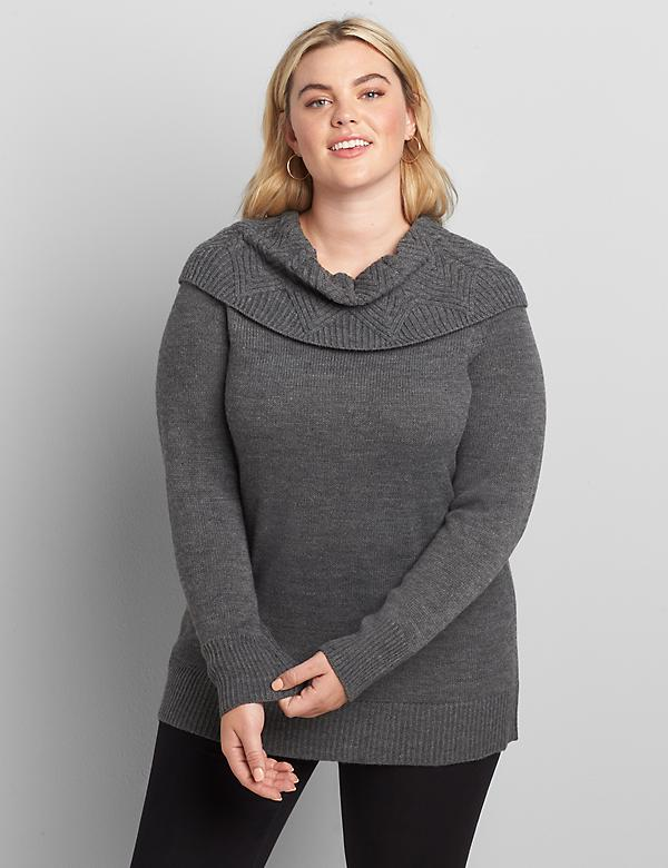 Lane Essentials Pointelle-Stitch Cowl-Neck Tunic Sweater